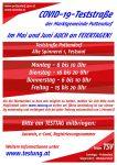 Info: Mai- und Juni-Testtermine in Pottendorf AUCH an den Feiertagen!